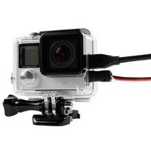 Dla GoPro Side Open obudowa ochronna obudowa Box kabel do podłączenia danych dla Go pro Hero 4 3 + pokrywa kamera akcji zestaw akcesoriów
