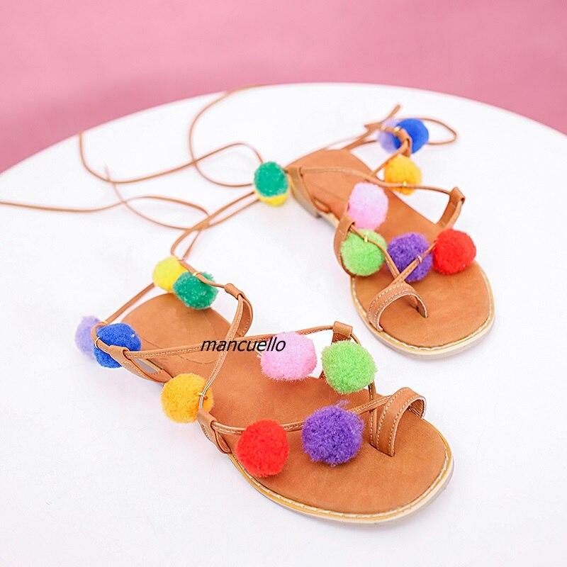 Zapatos Dulce Pompones naranja Marrón Planos Clip Toe Pu De Colores Cómoda Sandalias Decoradas Negro Cuero Gladiador Moda Encaje SUYZ1wx0