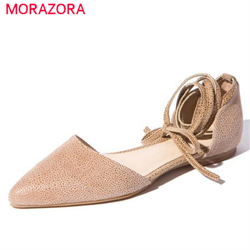 ФОТО MORAZORA 2017 Summer shoes new arrive genuine leather lace-up women sandals pointed toe flats fashion elegant solid shallow