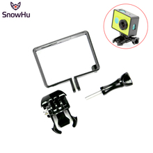 Купить с кэшбэком SnowHu Housing Side Frame Case Mount Protect Frame With Mount Adapter For Xiaomi YI For XiaoYi Action Camera Accessories LD05