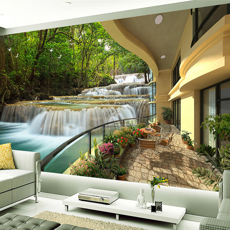 Custom 3D Mural Wallpaper Balcony Forest Waterfall Resort Landscape Photo Wall Mural Living Room TV Sofa Backdrop Papel Tapiz 3D custom 3d photo wallpaper 3d stereoscopic green forest mural for living room bedroom tv backdrop waterproof papel de parede