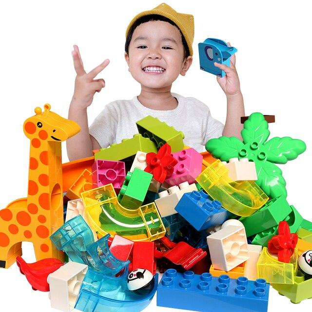DIY Bola Labirinto de Mármore Corrida Corrida Pista Blocos de construção Acessórios de Plástico Funil Slide Tijolos Compatível LegoINGly Duploe Bloco