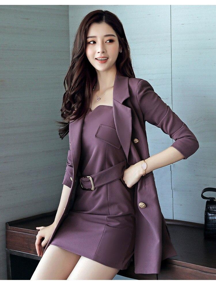 Autumn Business Suit Elegant Office Dress Lady Work 2 Pieces Set Long Sleeve Blazer and Sleeveless Dress Suit Set 22