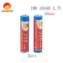 Mainifire IMR 10440 350mah 3.7V rechargeable Li-ion battery with Button top(1 pc)(China)
