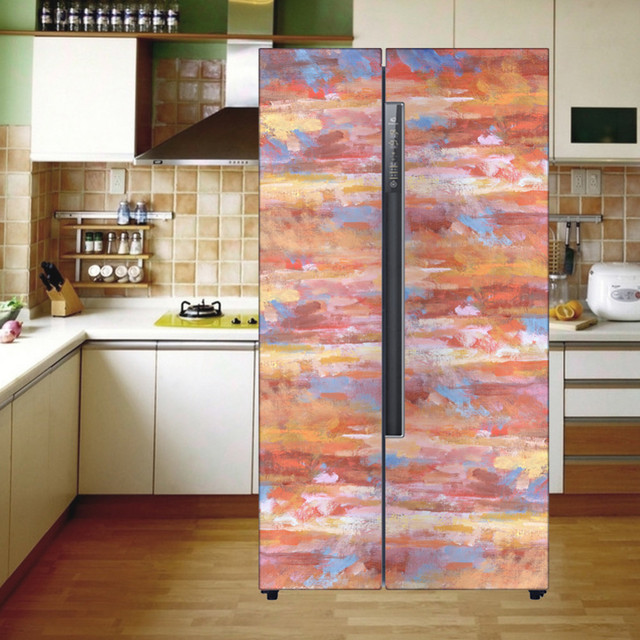 Creative Watercolor Painting Style Wall Stickers DIY Adhesive Sticker Removable Door Refrigerator Furniture Protector Home Decor