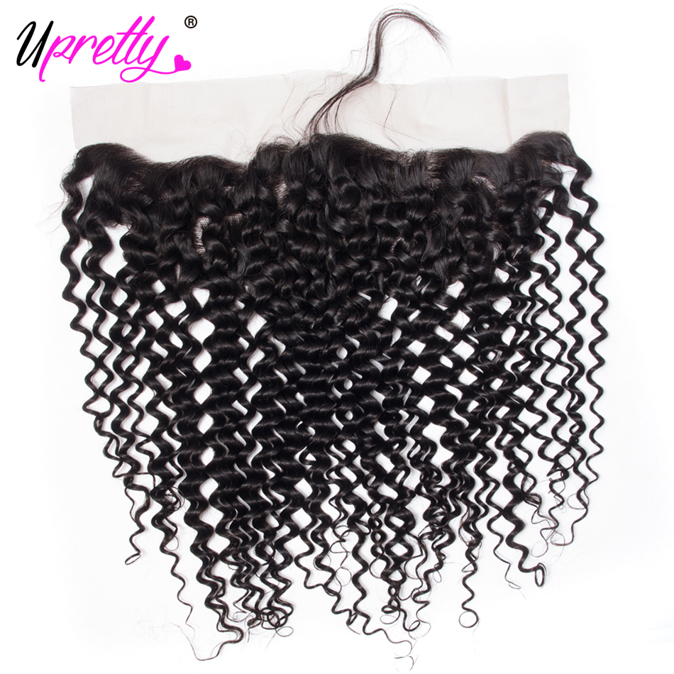 Upretty Hair Brazilian Curly Hair Lace Frontal Closure 13*4 Free Part Ear to Ear Remy Human Hair Closures With Baby Hair