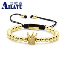 Ailatu Clear Cz Crown Braided Charm Men Bracelet Wholesale 6mm Top Quality Brass Beads Party Gift Jewelry