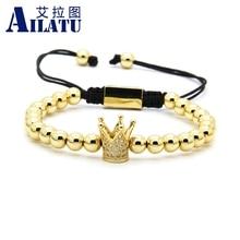 Ailatu Cz Crown Braided Charmสร้อยข้อมือผู้ชายขายส่งคุณภาพ 6MmลูกปัดทองเหลืองPartyของขวัญเครื่องประดับ