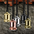 Indoor Retro Style Loft Vintage Industrial Pendant Lamp Fabric Cable Edison Lighting E27 Socket Pendant Light (No Bulb Included)