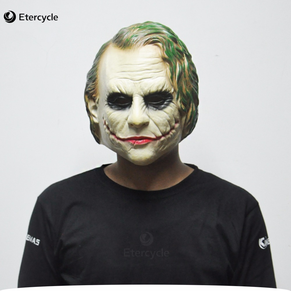 Joker Mask Batman Clown Puku Cosplay Elokuva Aikuisten puolue Masquerade Kumi Latex naamarit Halloween