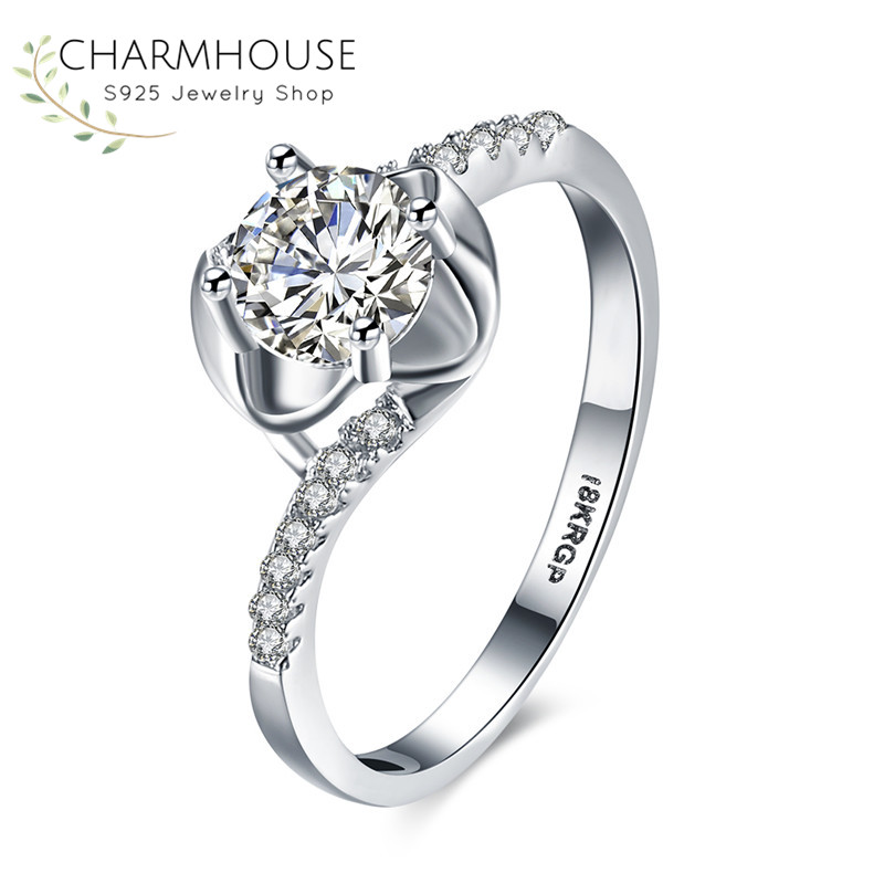Wedding Crystal Rings for Women Luxury Jewelry White Gold Color Promise Engagement Ring with Zircons Stone Bridal Accessories