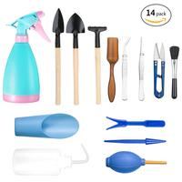 Multi function 14Pcs Mini Gardening Hand Tools Set Succulent Plants Watering Bottles Miniature Garden Plants Bucket Shovel Tools