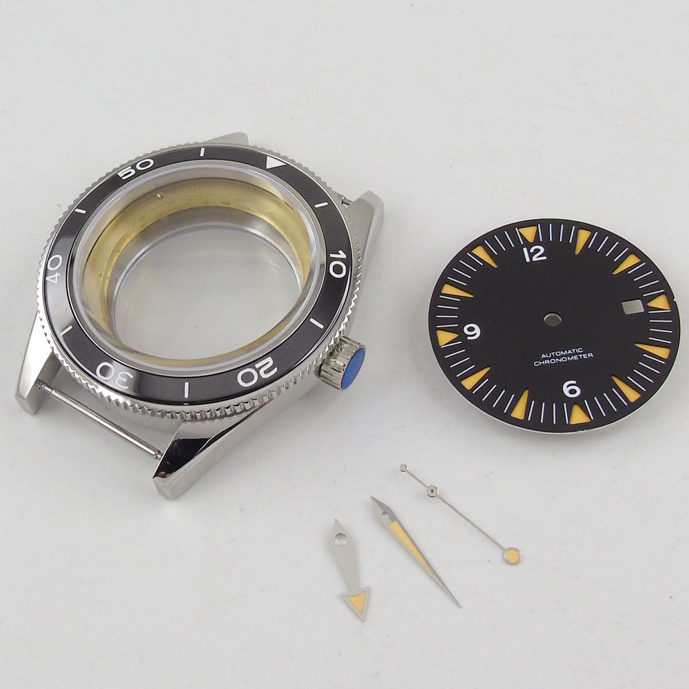 2018 Sapphire Glass High quality hardened Watch Case 41mm parnis black Dial + Hands + Watch Case set fit ETA 2824 2836 Movement