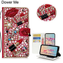 Dower Me Diamond Kiss Lipstick High Heel Flower Handbag Wallet Card Slot  Leather Case For Iphone XS Max XR X 8 7 6 6S Plus 5S SE 6030a3a54b2d