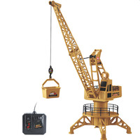 Wire Control RC Crane Tower 4CH Fork Lift Construction Vehicle Playset Model Toys 360 Degree Rotate