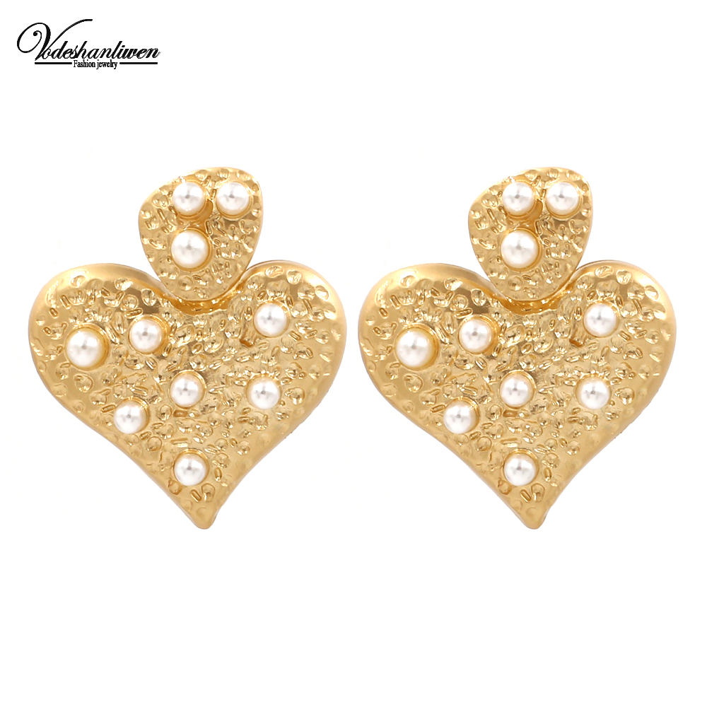 ad6493466a2d5 Vodeshanliwen de moda simulada colgante de corazón perla pendientes para  las mujeres nueva Bohemia Maxi declaración pendientes niña regalos