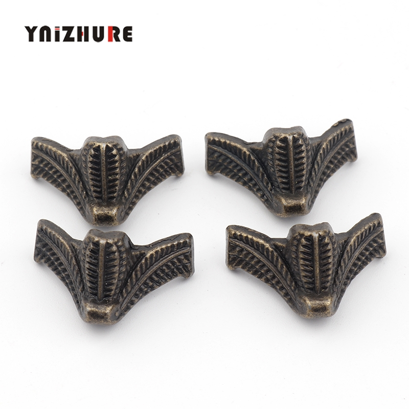 4PCS Antique Corner Protector Bronze Jewelry Chest Box Wooden Case Decorative Feet Leg Metal Corner Bracket Hardware