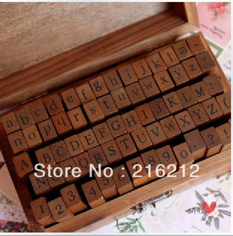 70 pcs/set Wooden Stamps AlPhaBet digital and letters seal standardized form stamps 14.6*8.6*5cm 2 styles