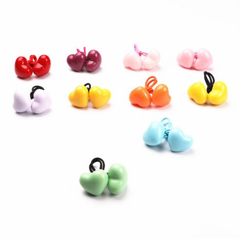 Free Shipping,2017 New Wholesale 20pcs/lot Children Hair Accessaries Love Heart Hair Bands Elastic Ropes Ties Ponytail Holder