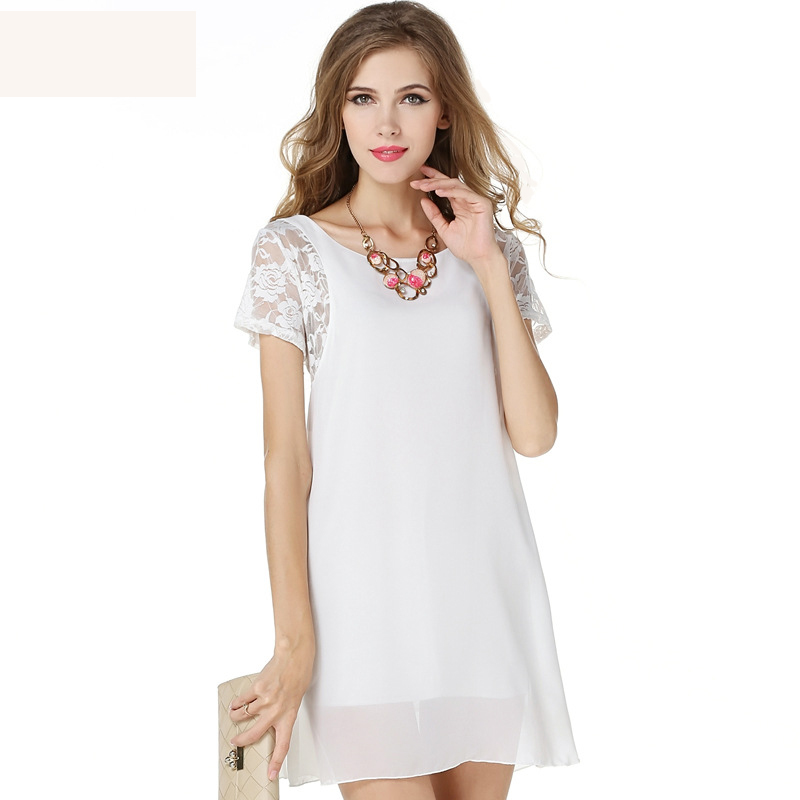 Dresses Lace White Chiffon Summer Dress 2017 Casual Beach Women Short Sleeve Hollow out Backless Sexy Mini Black Summer Dresses