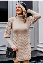 Turtleneck Long Knitted Pullover Sweater Dress