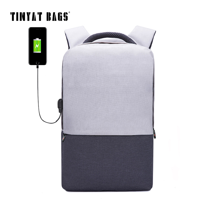 TINYAT Men Laptop Backpack For 15.6 inch USB Charging Backpacks Computer Anti-theft Bags Male Gray Daypack Women Mochila T810 sopamey usb charge men anti theft travel backpack 16 inch laptop backpacks for male waterproof school backpacks bags wholesale