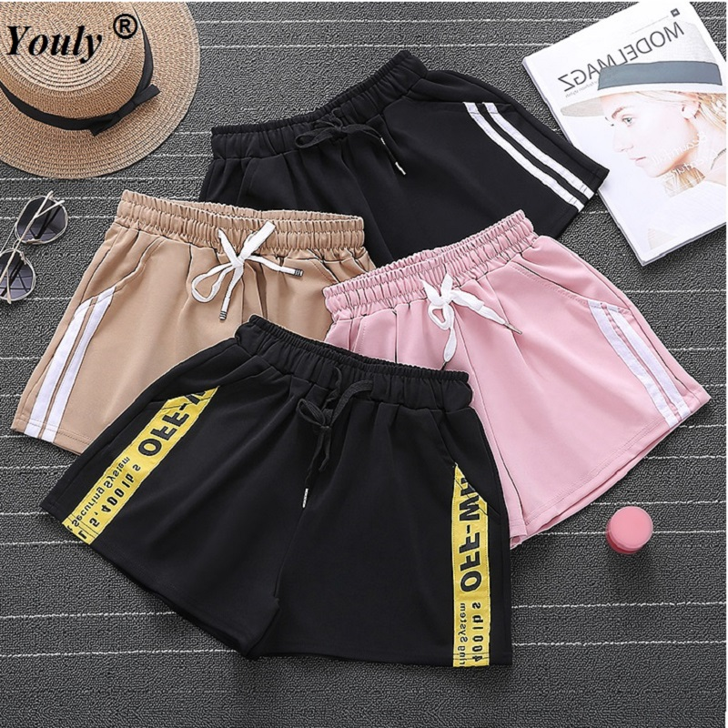 Women Casual Hots   Shorts   Yellow Sides Stripe High Waist Joggers Loose Harajuku Wide Hot   Shorts   Capirs BF Style Casual Workout