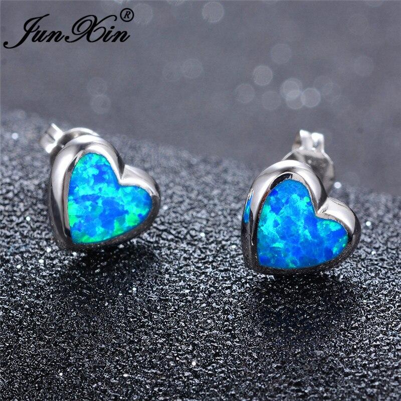 JUNXIN Cute Small Double Heart Stud Earrings For Women White Gold White Blue Fire Opal Earrings Wedding Piercing Jewelry