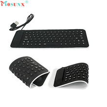 Adroit Portable font b USB b font Mini Flexible Silicone PC Keyboard Foldable for Laptop Notebook