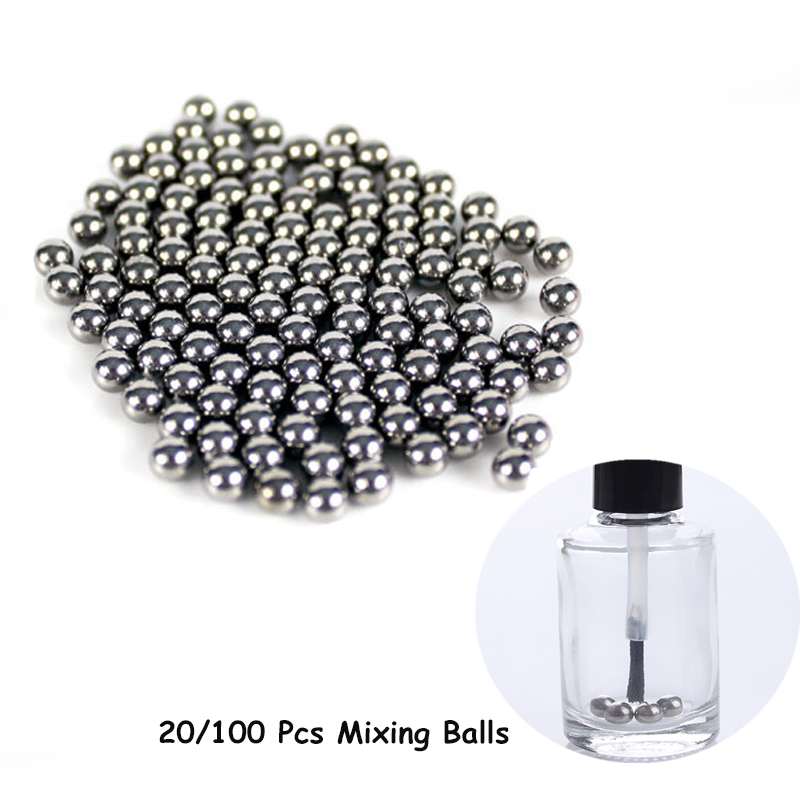 20pcs 100pcs 5mm Nail Polish Mixing Balls Stainless Steel Beads For Glitter Polish Tools