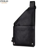VICUNA POLO Fashion Black Leather Men S Vintage Sling Chest Bag With Rivet Crossbody Messenger Bag