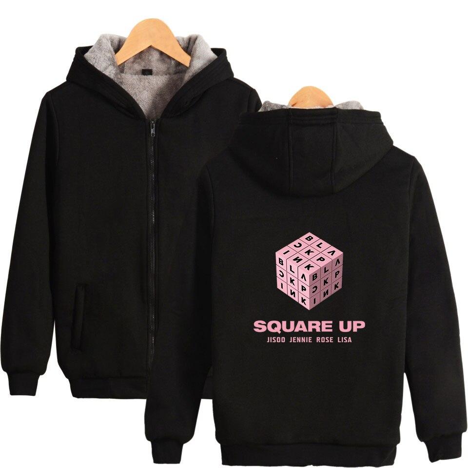 2018 nouveau KPOP Blackpink Album veste manteau femmes/hommes hiver épaissir chaud fermeture éclair sweat à capuche décontracté LISA Moletom
