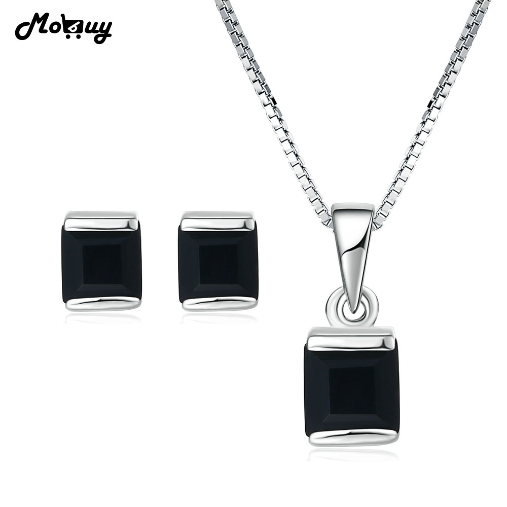 все цены на MoBuy 100% Natural Gemstone Black Chalcedony 925 Sterling Silver 2PCS S925 Fine Jewelry Sets Fine Jewelry For Wedding V008BEN