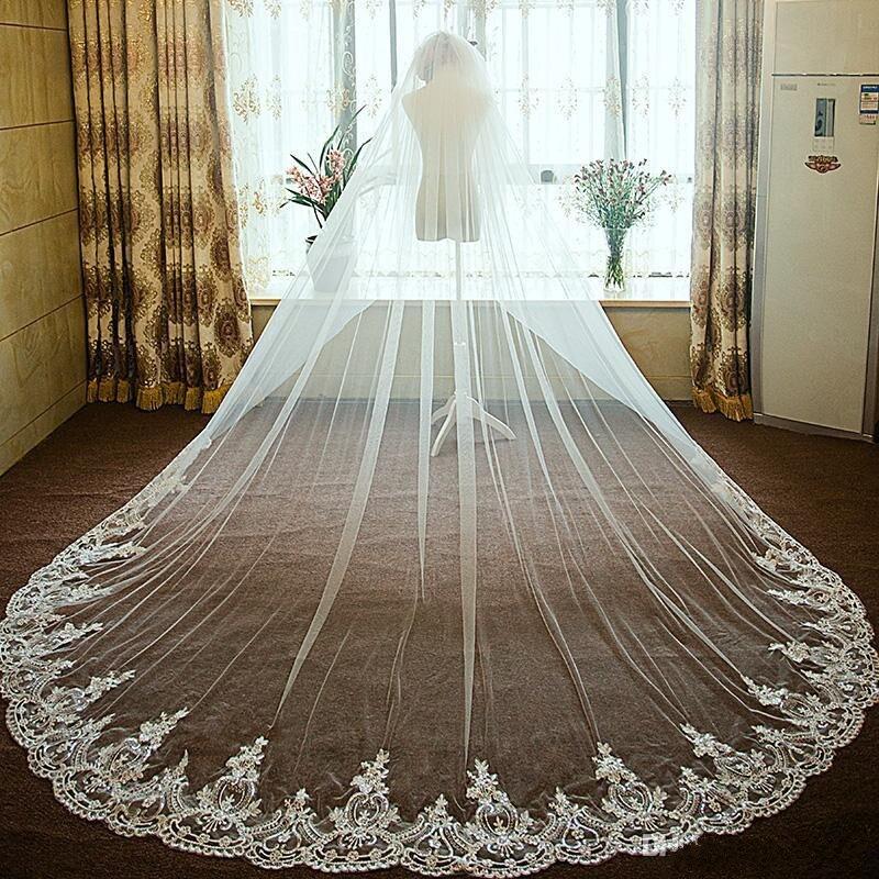 Nouveauté voile de mariée blanc filet dentelle cathédrale longueur 3.5 m une couche appliques de mariage enveloppes livraison gratuite