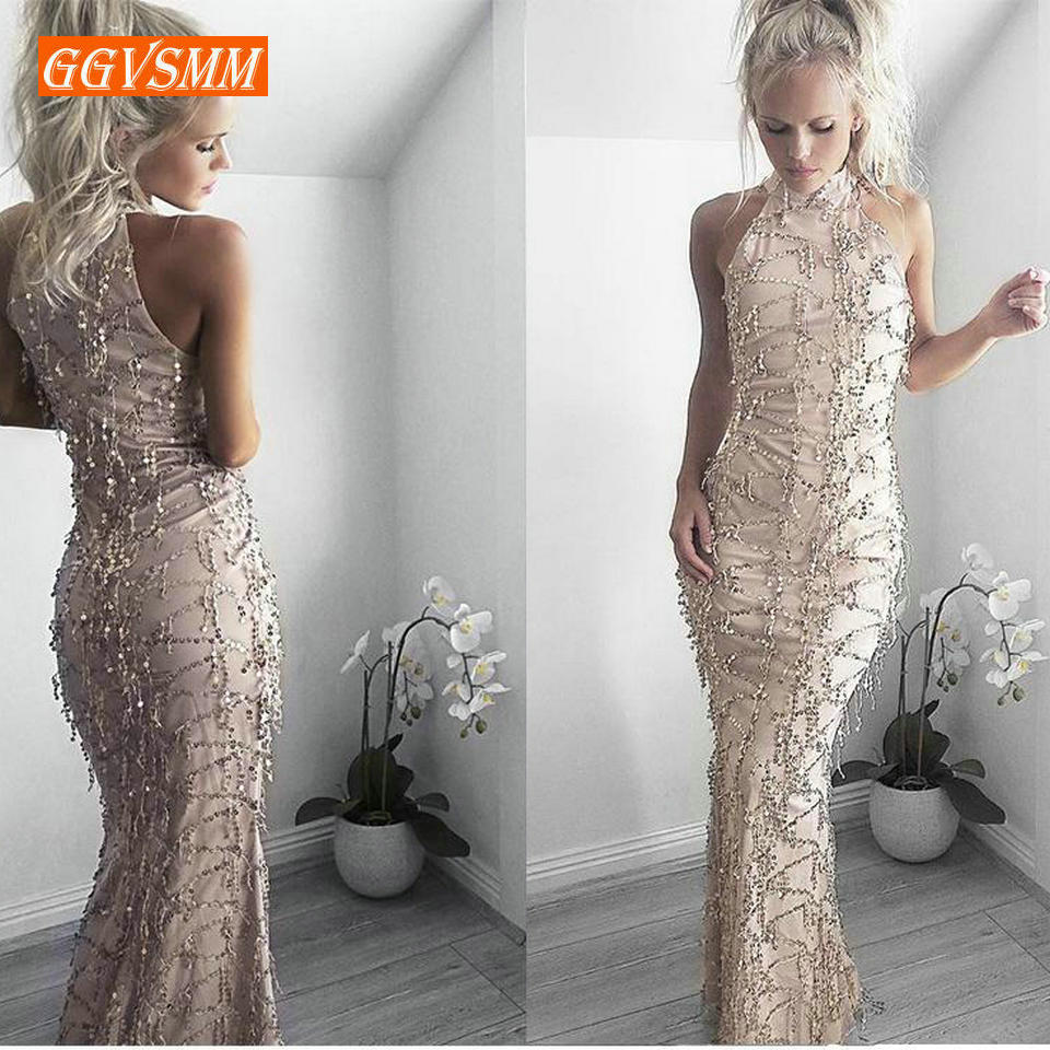 Sexy Gold Mermaid Long Prom dresses 2019 Club Prom Dress High Neck Tulle Embroidery Sequined Women