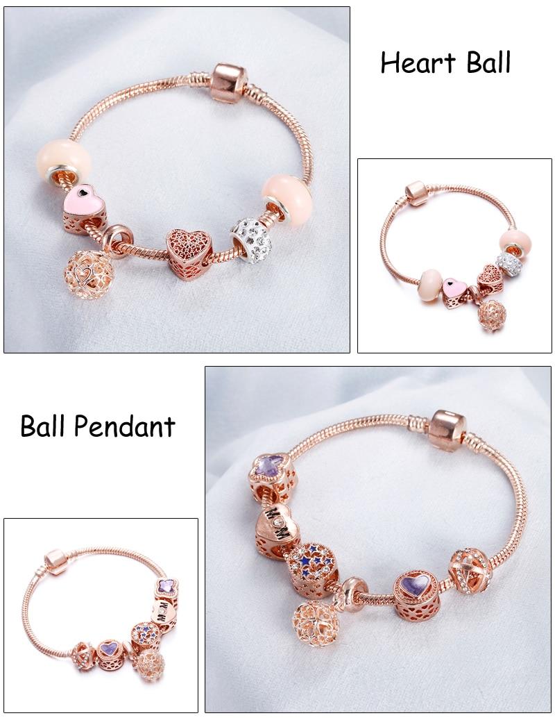 Rose Gold Bracelet Cherry Blossom Tassel Ball Crystal Bead Pendant Charm Trend Bracelets & Bangles For Women Jewelry Girl Gifts 5