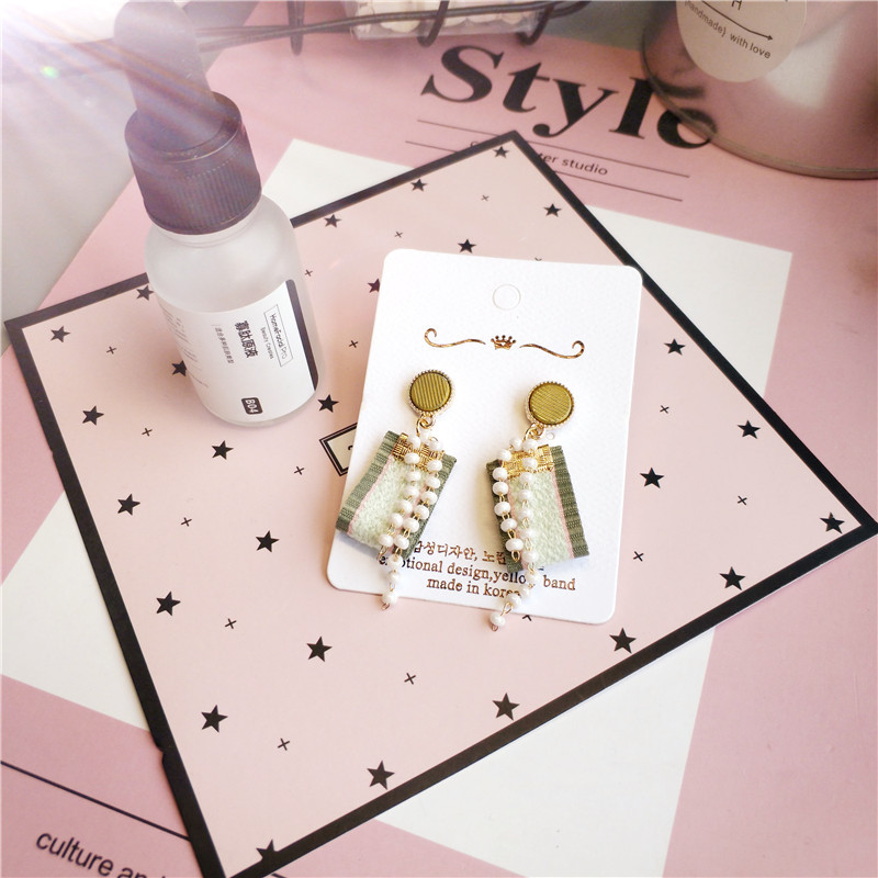Korea Handmade Cute Contrast Color Striped Cloth Women Drop Earrings Bangle Earrings Fashion Jewelry Accessories-JQDPER122D5