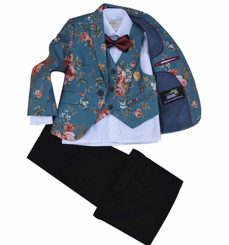 Garçon enfants Blazers costumes garçons mariage robe costume imprimé Floral Blazer veste + gilet + pantalon solide + noeud papillon enfant garçon 4 pièces 2-12 ans