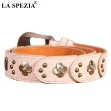 LA SPEZIA Belt Women Designer Pin Buckle Leather With Rhinestones Female Beige Genuine Pigskin Ladies Rivet Belts