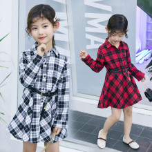 Casual Branded Kids Girl Slim Fit Turn-Down Collar Shirt Dress Teenager Long Sleeve White Red Plaid Belted Blouse Dress Autumn belted cuff mixed print stepped hem blouse
