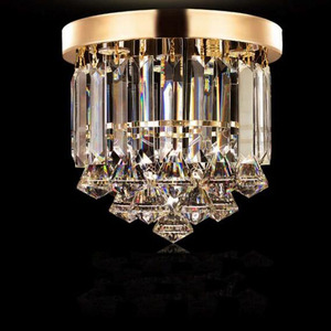 Image 4 - Crystal ceiling Lights Champagne OR Clear Stainless Steel Round Crystal ceiling Lights Design for the Hotel Lobby bar cafe shop