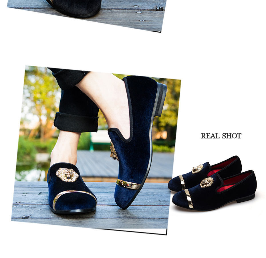 HTB1MM0hat.LL1JjSZFEq6AVmXXa7 - New Fashion Gold Top and Metal Toe Men Velvet Dress shoes italian mens dress shoes Handmade Loafers