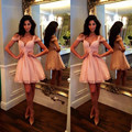 2016 Pink Mini Lengh Chiffon Cocktail Dress Elegant Vestidos De Festa Curtos Noite designer evening gowns cocktail dresses