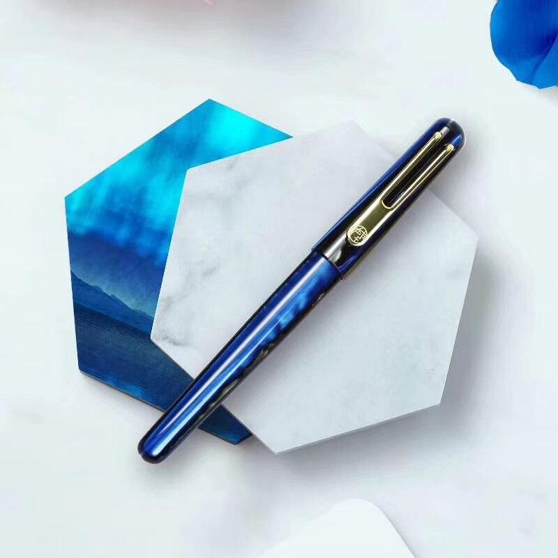 Nouveau Picasso celluloïd stylo plume Pimio EtSandy Aurora bleu PS-975 Iridium Fine encre stylo écriture cadeau stylo pour bureau d'affaires