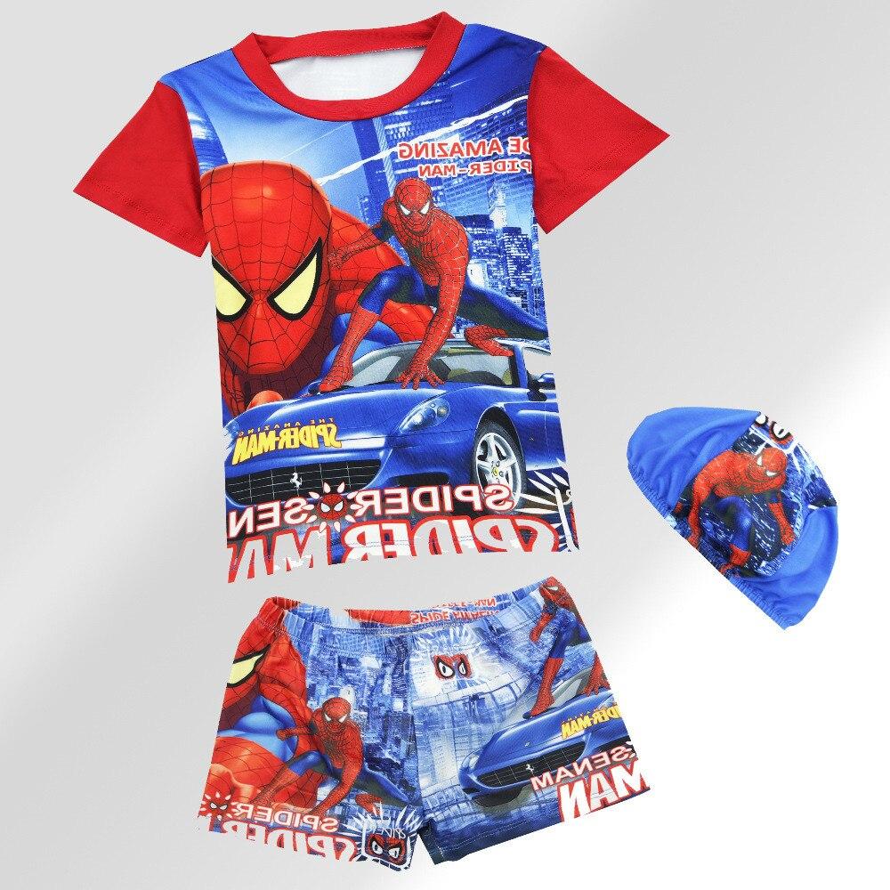 Косплей «Человек-паук» для мальчиков купальники комплект пижамы детская одежда для сна футболка + шорты + шляпа Летние пижамы для мальчиков ...