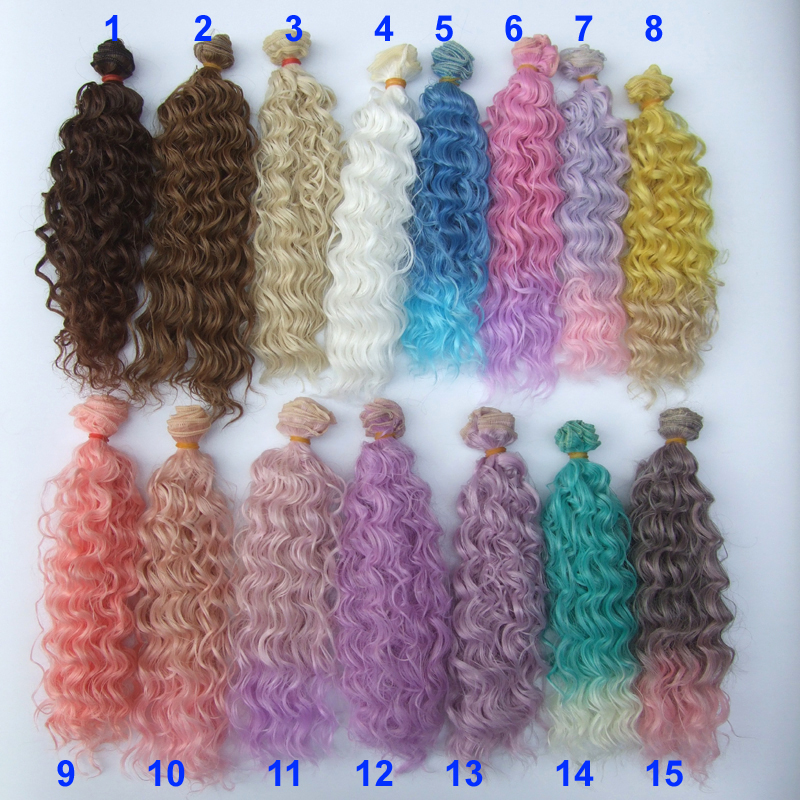 15 CM 25cm doll wigs heat resistant deep wave hair for blyth doll 1/3 1/4 1/6 BJD diy cloth doll wigs