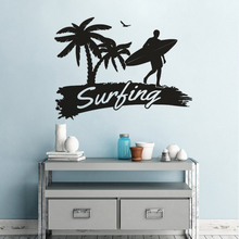 Surfing Sports Gym Decoration Palm Tree Surfer Logo Wall Sticker Vinyl Art Removabel Poster Mural Design Diy Decor W217