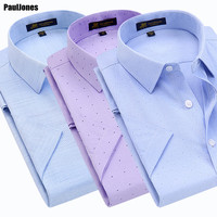 PaulJones 2017 New Arrival Short Sleeve Men Printed Oxford   Shirts   High Quality Cheap Social Male Casual Business   Shirts   NJF5