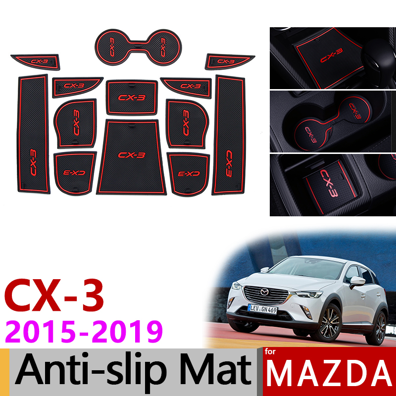 Anti-Slip Gate Slot Mat Rubber Coaster for Mazda CX-3 2015 2016 2017 2018 2019 CX3 CX 3 Accessories Car Stickers Car Styling