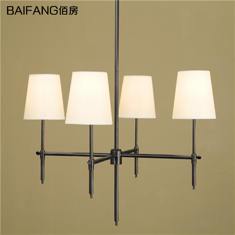 American style Nordic minimalist iron art fabric pendant light lamp restaurant bar dining room hanging lighting